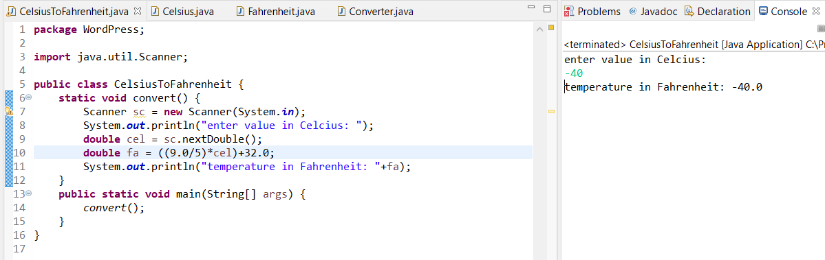 write a program to convert Celsius to Fahrenheit in java