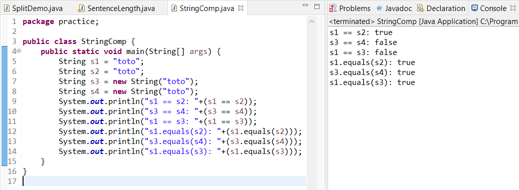 Remove term: how to compare strings in java how to compare strings in java
