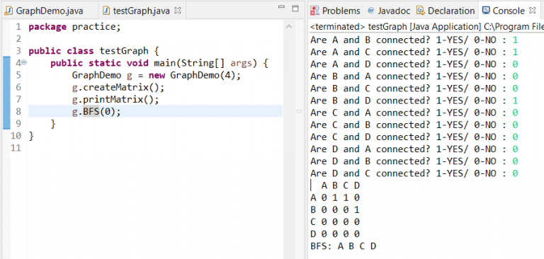 Breadth-First Search in Java output