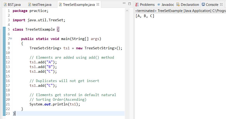 TreeSet java example code