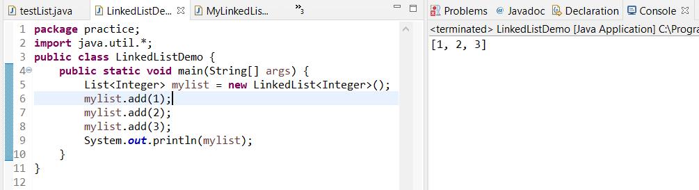 creating a linklist java