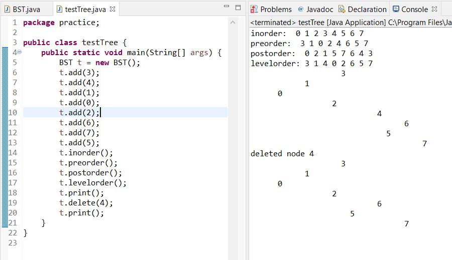 binary tree output