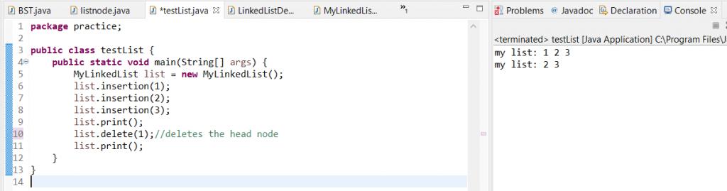 delete head in linkedlist java