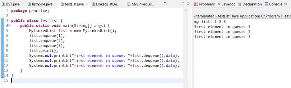 enqueue and dequeue in java linkedlist