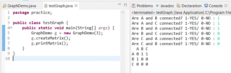 populate the matrix for graph java