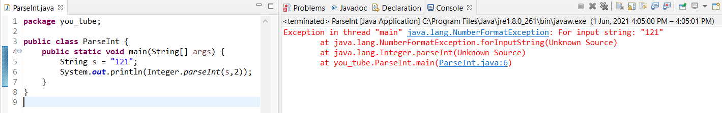 Java parseInt Number Format exception