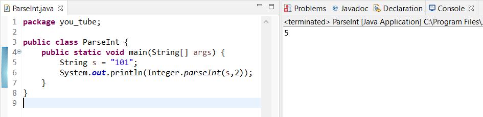 Integer.parseInt Java code method