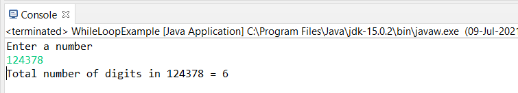 While Loop Example output