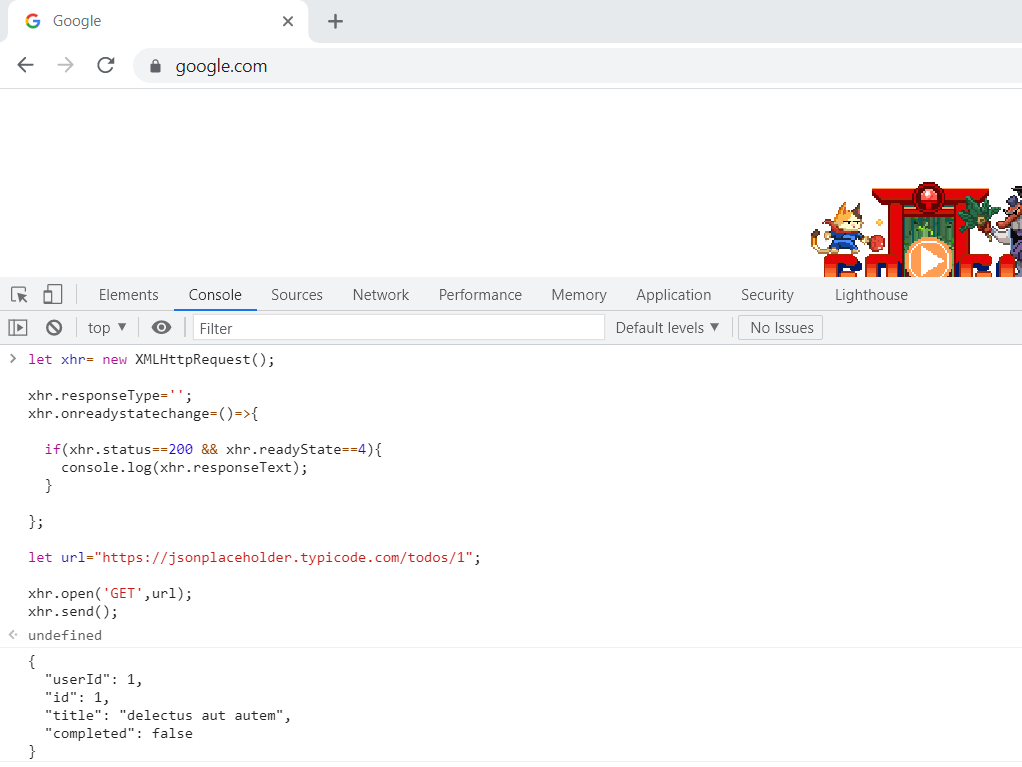 JavaScript Http request JSON in chrome browser