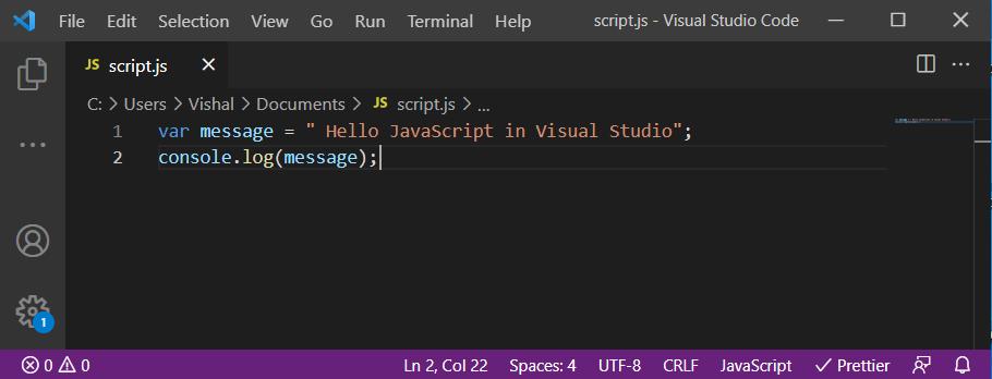 JavaScript code in visual studio code