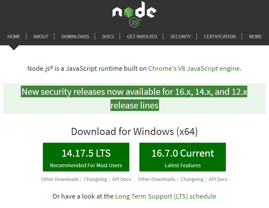 node js download page