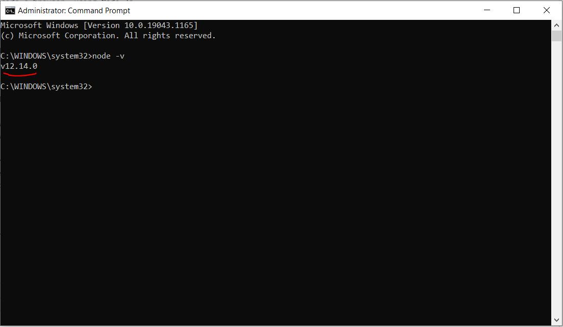node version check cmd