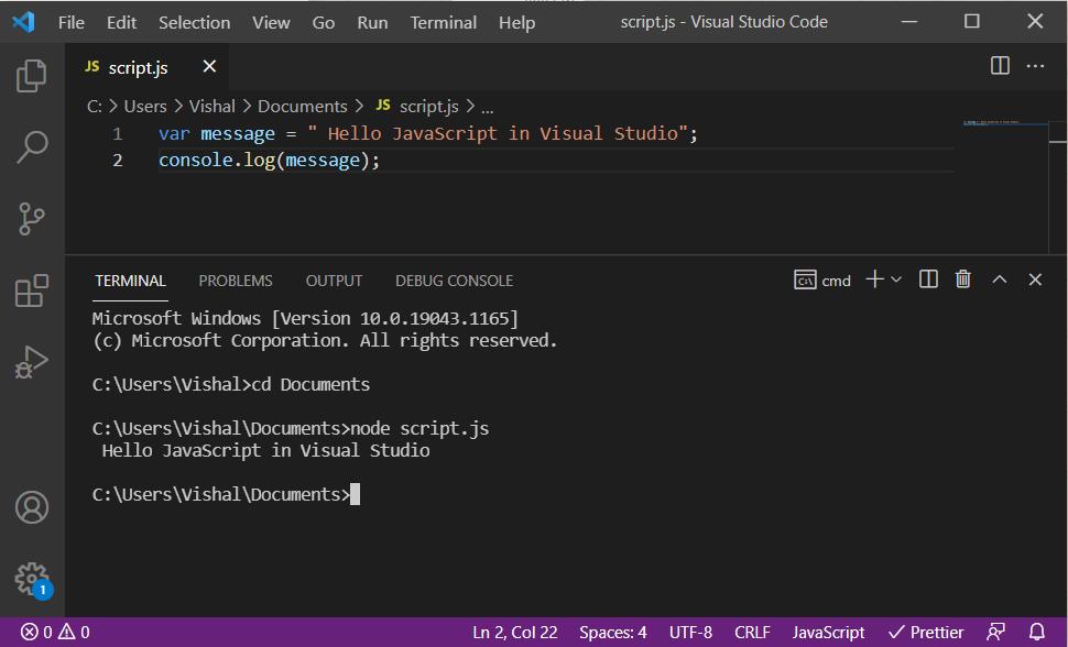 run javascript in visual studio code